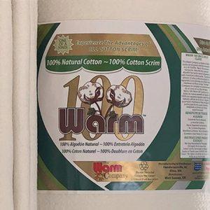 Warm 100 ~ Ultra Clean Natural Cotton + 100% Cotton Scrim